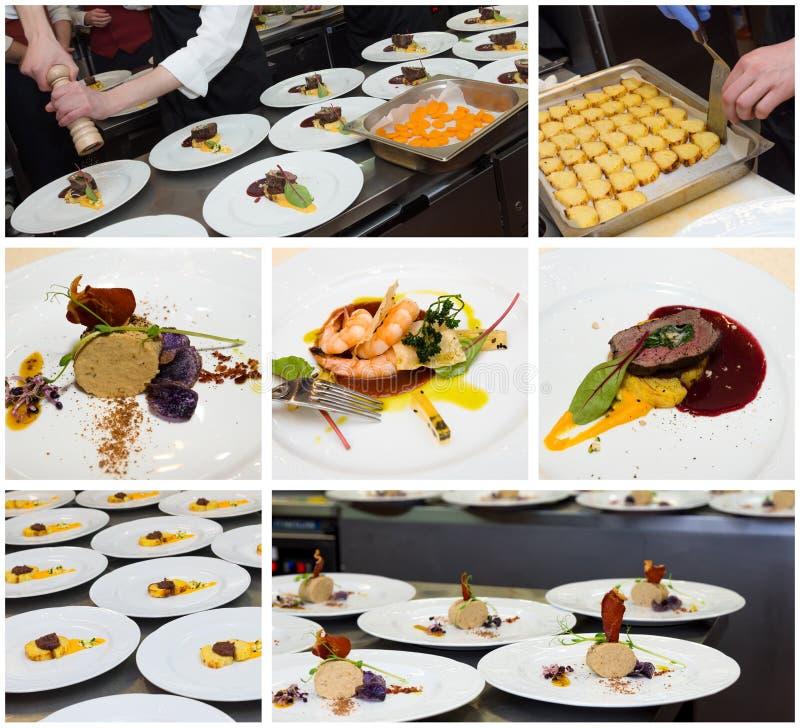 Het voedselcollage van de restaurantkeuken royalty-vrije stock foto's