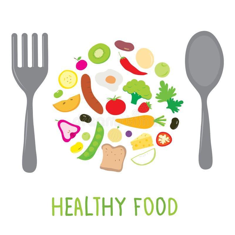 Het Voedselcook Ingredient Nutrient van de fruitgroente Gezonde leuke beeldverhaalvector vector illustratie