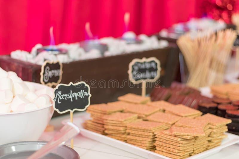 Het voedseldesserts van de vakantiepartij festively met smores worden verfraaid - heemst, de crackers van Graham, chocolade die royalty-vrije stock afbeeldingen