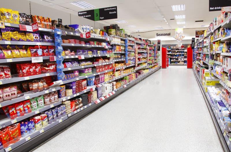 Het voedseleiland van de supermarkt stock fotografie