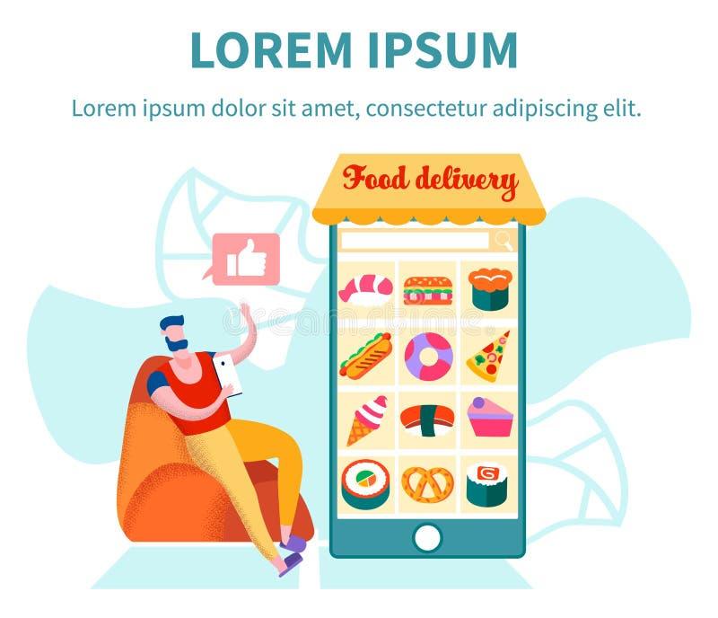Het Voedsellevering die van Eco van de klantenorde Mobiele toepassing gebruiken stock illustratie
