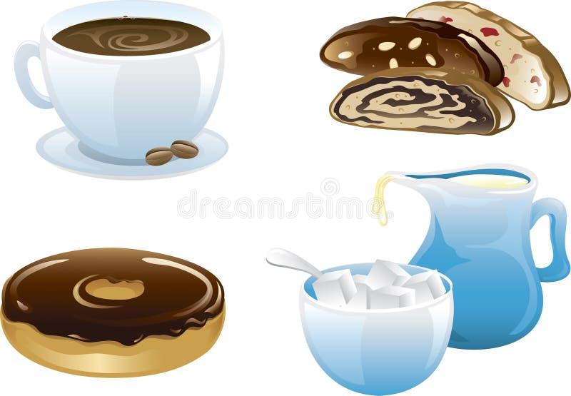 Het voedselpictogrammen van de koffie stock illustratie