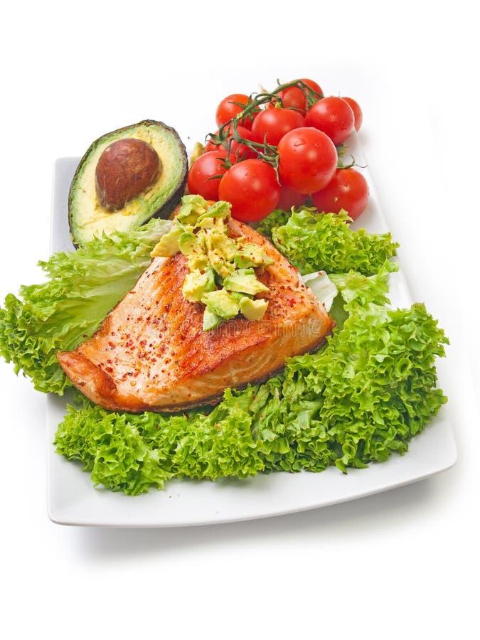 Het voedselsalade van het zalmdieet stock foto