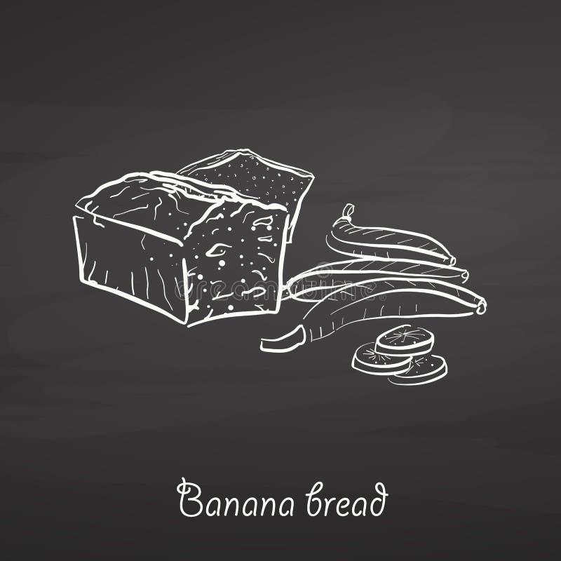 Het voedselschets van het banaanbrood op bord royalty-vrije illustratie