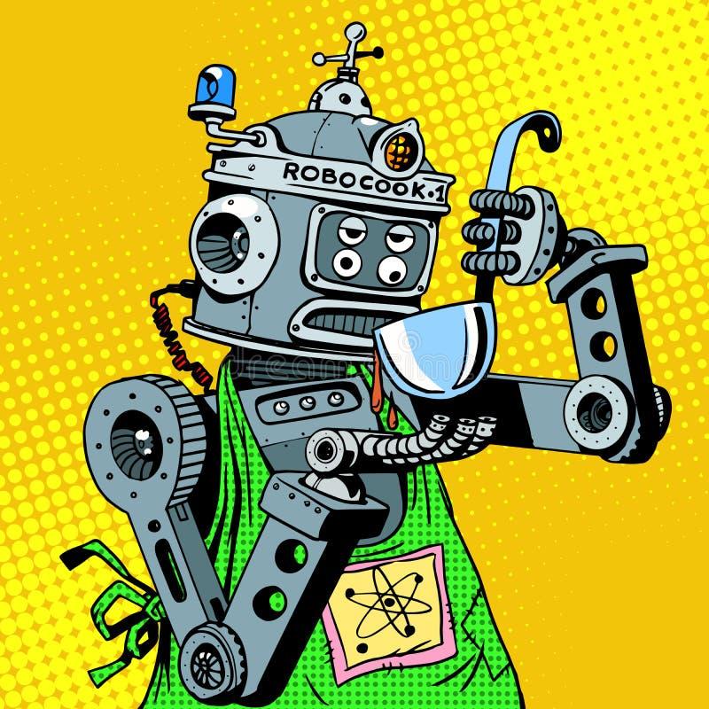 Het voedselsmaken van de robotchef-kok vector illustratie