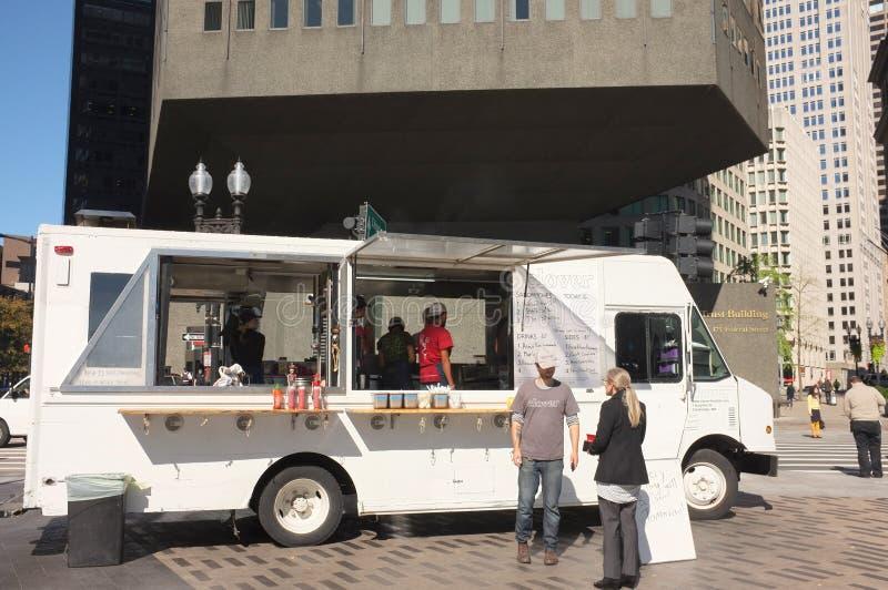 Het Voedselvrachtwagen van klavertaqueria stock afbeelding
