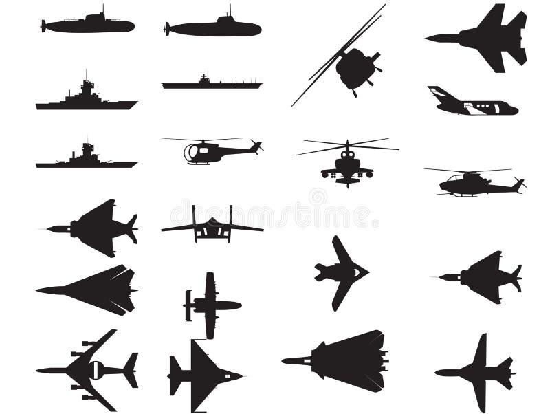 Het Voertuig Silhoettes van het leger royalty-vrije illustratie