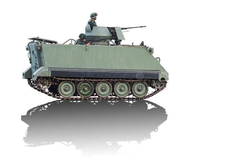 Het voertuig van de gepantserde die personeelsdrager op witte achtergrond wordt geïsoleerd royalty-vrije stock afbeeldingen