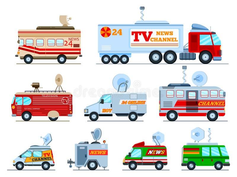 Het voertuig van TV van de uitzendingsauto vector het uitzenden bestelwagen met antenne satellietmedia en de illustratiereeks van stock illustratie