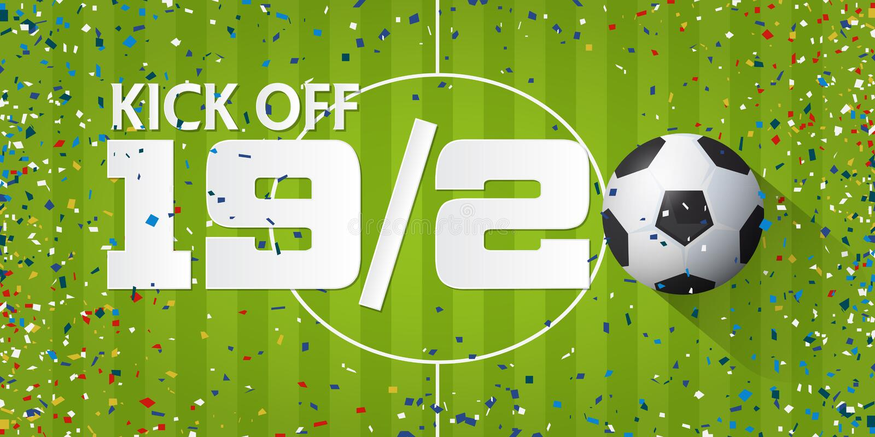 Het voetbal of de voetbal schopt van banner met voetbalbal en document confettien op de achtergrond van het voetbalgebied het ont vector illustratie