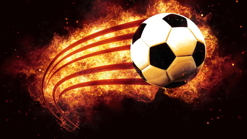 Het voetbal van de voetbalbal bij de explosie van brandvlammen het branden vector illustratie