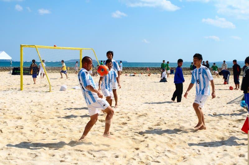 Het Voetbal van het strand stock fotografie