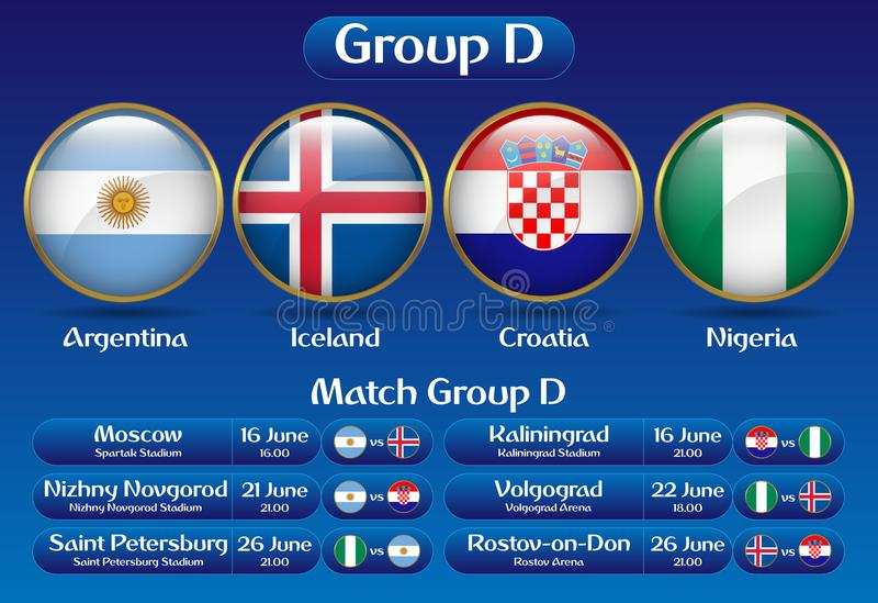 Het Voetbalkampioenschap Rusland 2018 van D van de gelijkegroep stock illustratie