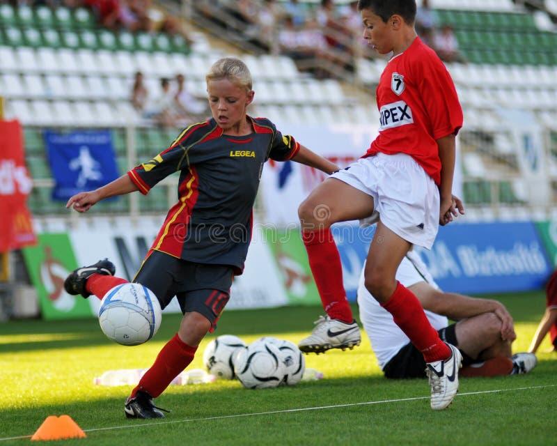 Het voetbalspel van tuzla-Munkachevo stock afbeelding
