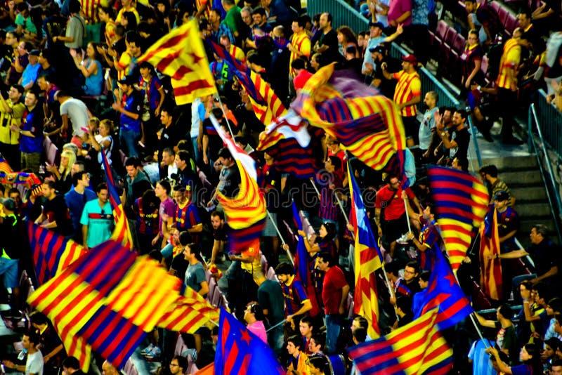 Het Voetbalventilators van Barcelona stock afbeeldingen