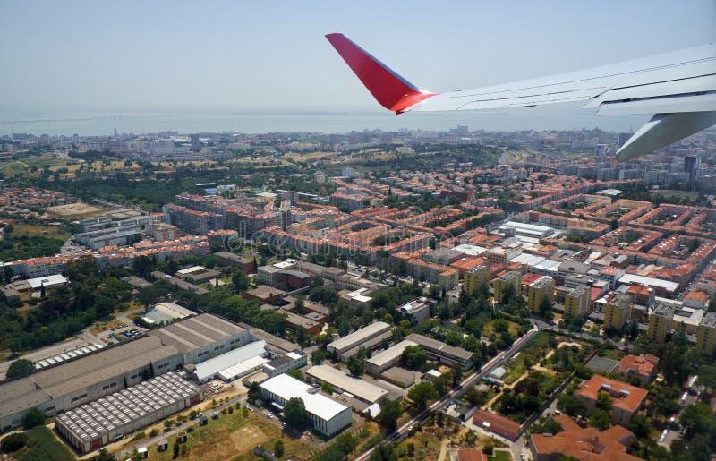 Het vogelperspectief van centraal Lissabon portugal royalty-vrije stock foto's
