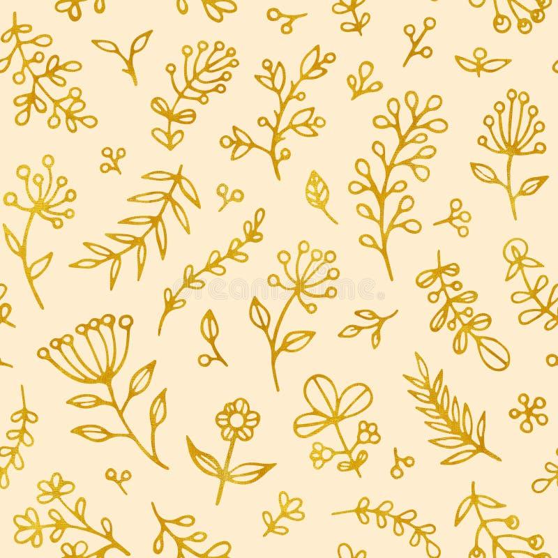 Het volks naadloze patroon van de bloemen uitstekende rooster Etnische bloemenmotief beige hand getrokken achtergrond Gouden cont royalty-vrije illustratie