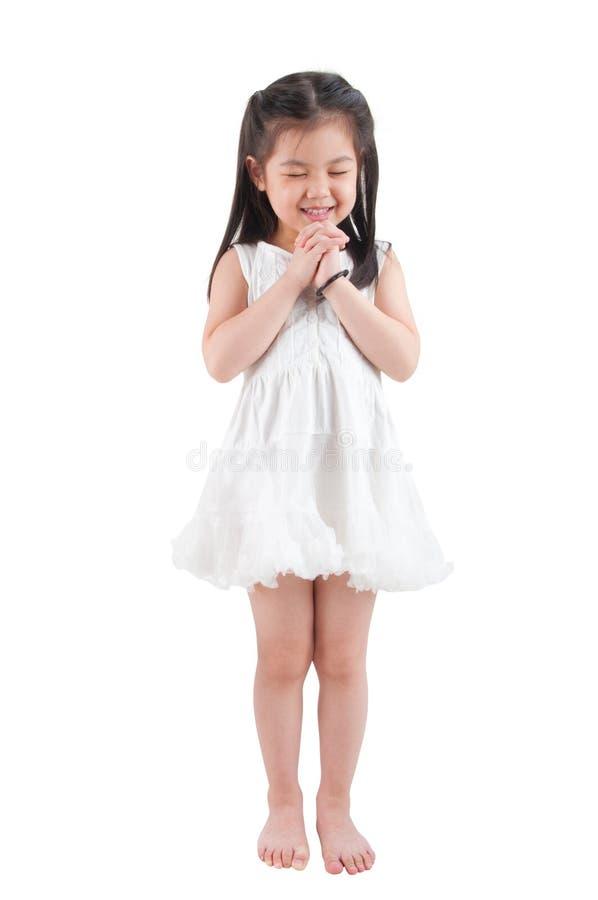 Aziatisch meisje die een wens maken royalty-vrije stock foto's