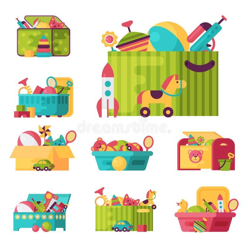 Het volledige jong geitjespeelgoed in dozen voor jonge geitjes speelt de vectorillustratie van de kinderjaren babyroom container stock illustratie