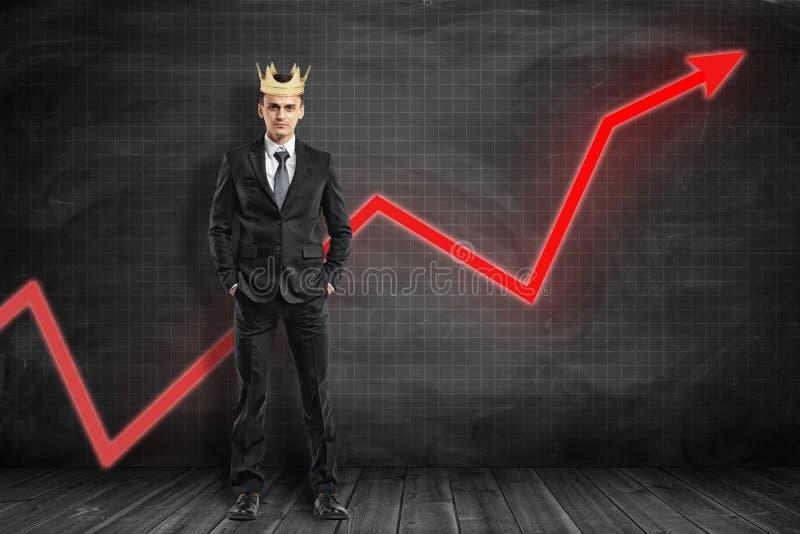 Het volledige lengte vooraanzicht van zakenman die kroon, status dragen dient zakken, met het rode grafiekpijl uitgaan achter hem royalty-vrije stock fotografie