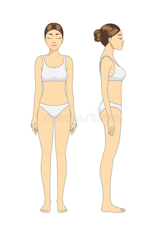 Het volledige model van de lichaamsvrouw in witte ondergoed status vector illustratie