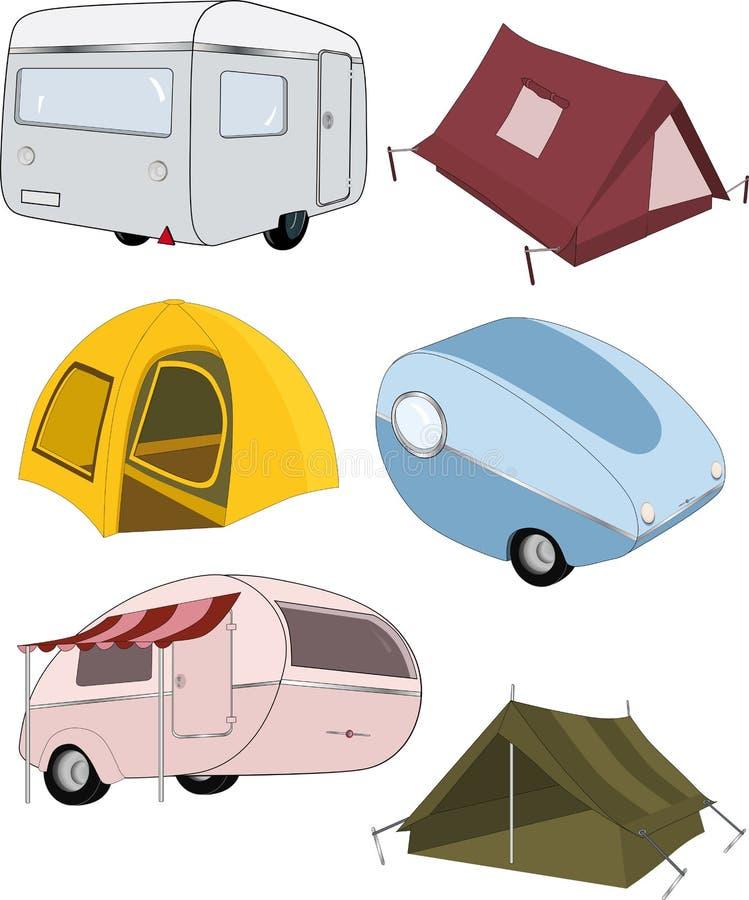 Het volledige vastgestelde kamperen stock illustratie
