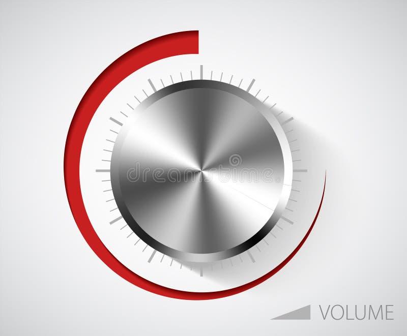 Het volumeknop van het chroom stock illustratie