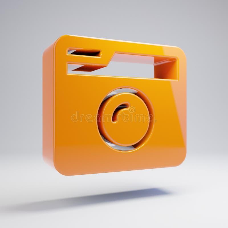 Het volumetrische glanzende hete oranje Retro pictogram van de Fotocamera dat op witte achtergrond wordt geïsoleerd vector illustratie