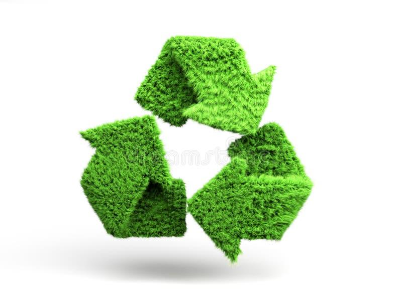 Het volumetrische groene gras met een laag bedekte 3d recyclingsteken geeft op wit terug vector illustratie