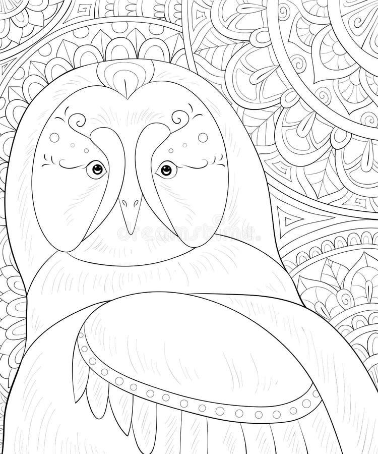 Het volwassen kleurende boek, pagineert een leuke uil op de abstracte achtergrond met ornamentenbeeld voor het ontspannen De stij vector illustratie