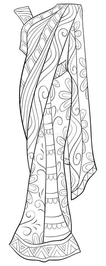 Het volwassen kleurende boek, pagineert leuke Sari met het beeld van zenornamenten voor het ontspannen De stijlillustratie van de vector illustratie