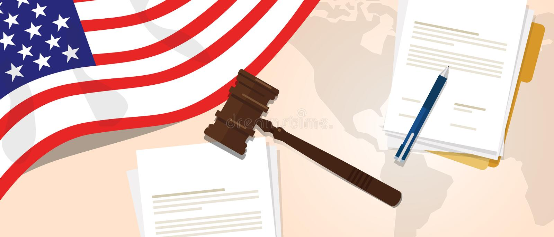 Het vonnis van de de wetsgrondwet van de V.S. de Verenigde Staten van Amerika het wettelijke proefconcept die van de rechtvaardig stock illustratie