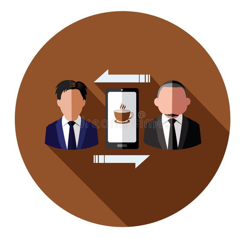 Het is voor koffietijd Businessperson die aan mobiel verbinden stock illustratie