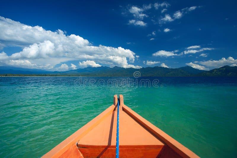 Het vooraanzicht van de schipneus in Gili Trawangan, het Noorden Lombok, Indonesië, Azië royalty-vrije stock afbeeldingen