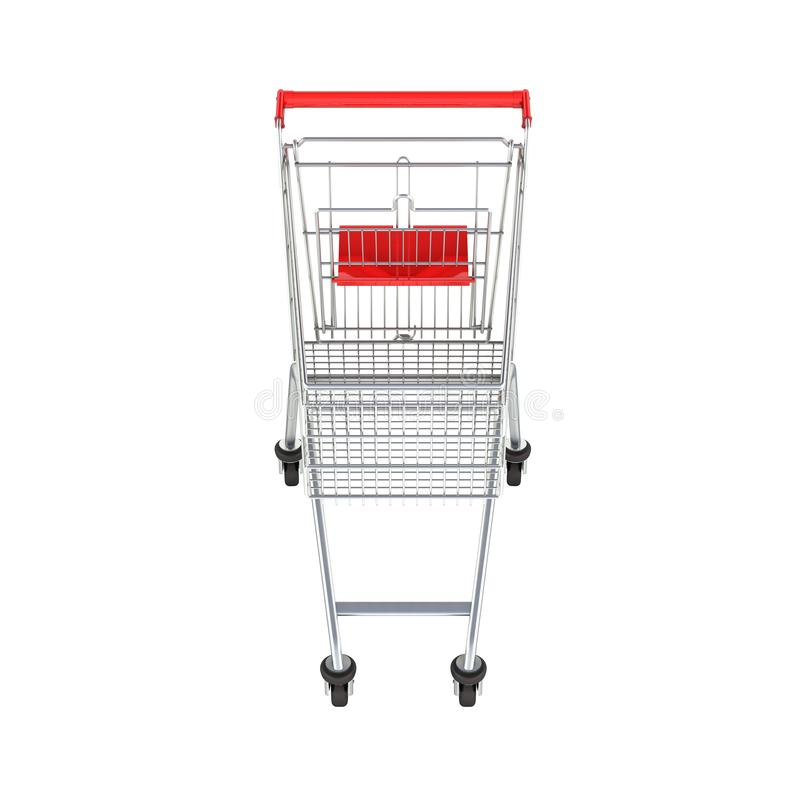 Het vooraanzicht van het supermarktboodschappenwagentje zonder schaduw op witte 3d achtergrond royalty-vrije illustratie