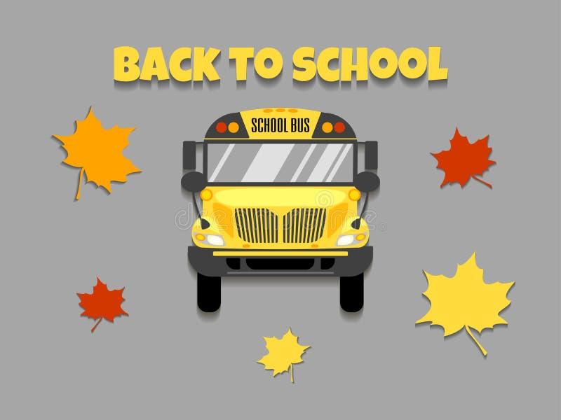 Het vooraanzicht vectorillustratie van de schoolbus Terug naar School stock illustratie