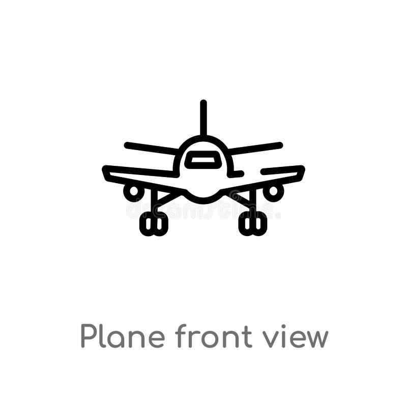 het vooraanzicht vectorpictogram van het overzichtsvliegtuig de ge?soleerde zwarte eenvoudige illustratie van het lijnelement van vector illustratie