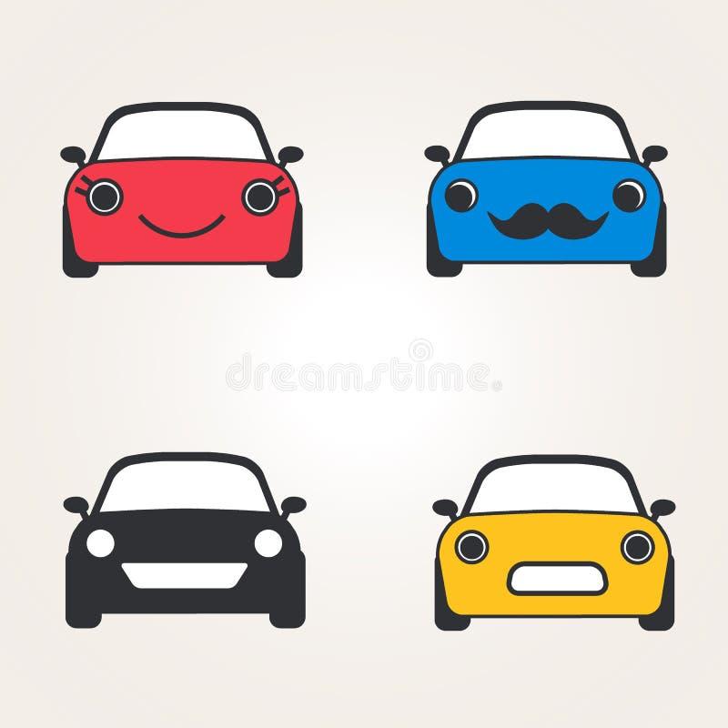 Het vooraanzichtreeks leuke van auto'spictogrammen (teken) Automobiel silhouet Vector illustratie vector illustratie