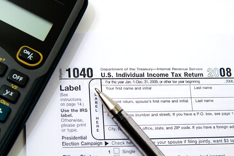 Het voorbereiden van Belastingen royalty-vrije stock afbeelding