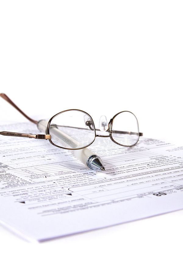 Het voorbereiden van Belastingen stock afbeelding