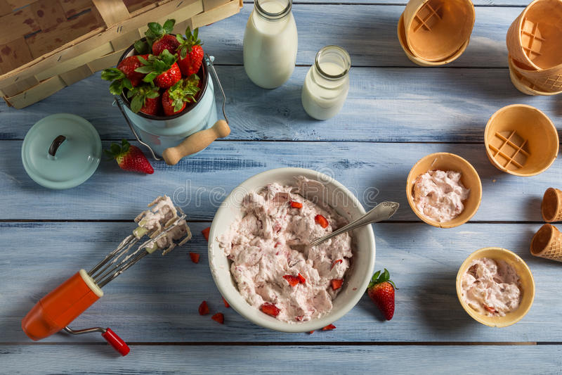 Het voorbereiden van eigengemaakt fruitroomijs stock afbeeldingen