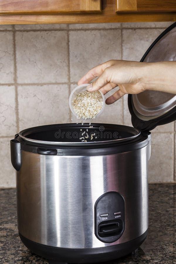Het voorbereiden van rijst in kooktoestel stock fotografie