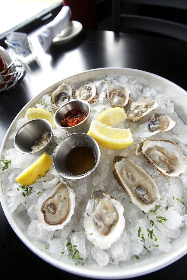 Het voorgerecht van zeevruchten met oesters stock foto