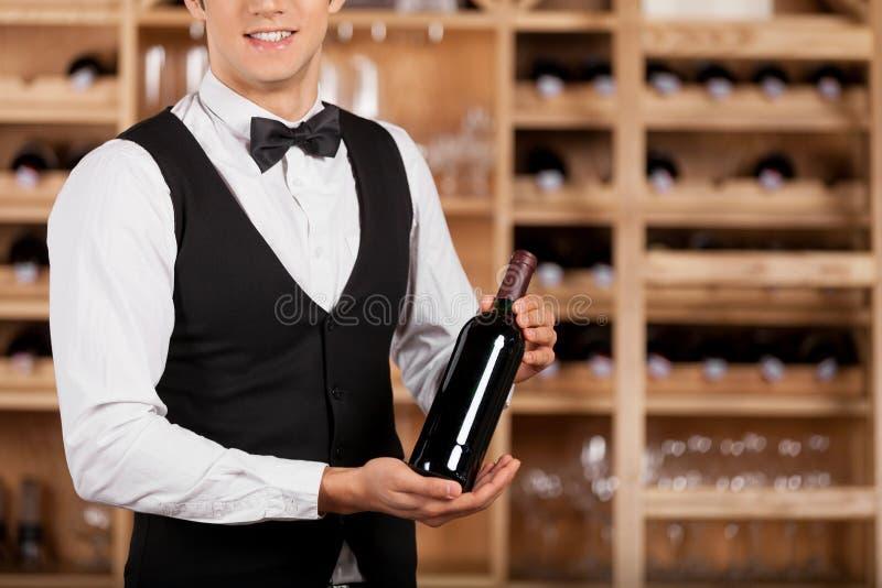 Het voorstellen van de beste wijn. stock afbeelding