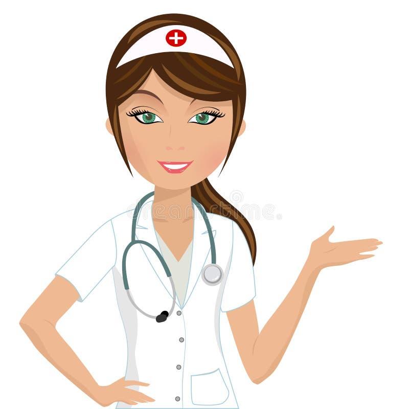 Het Voorstellen van de verpleegster stock illustratie