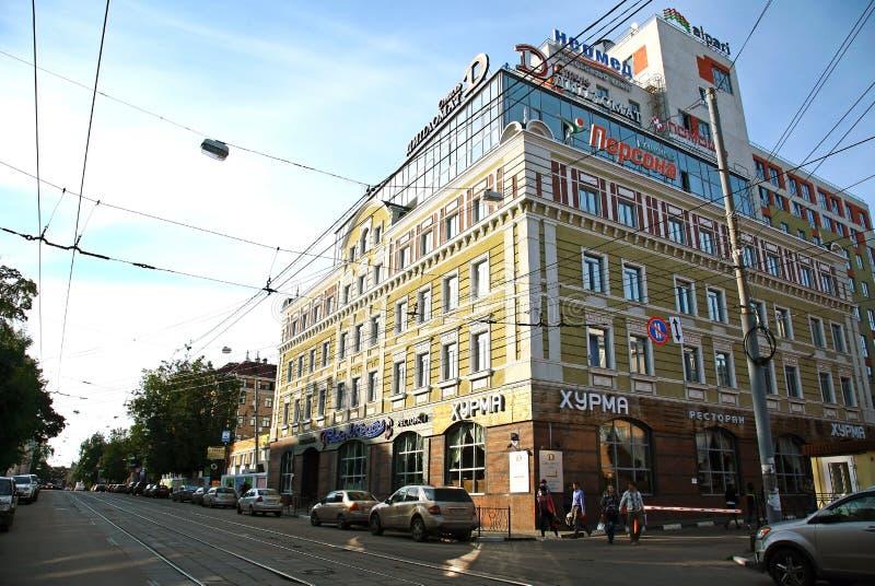 Het voortbouwen op de straat Nizhny Novgorod van Bolshaya Pecherskaya royalty-vrije stock foto's