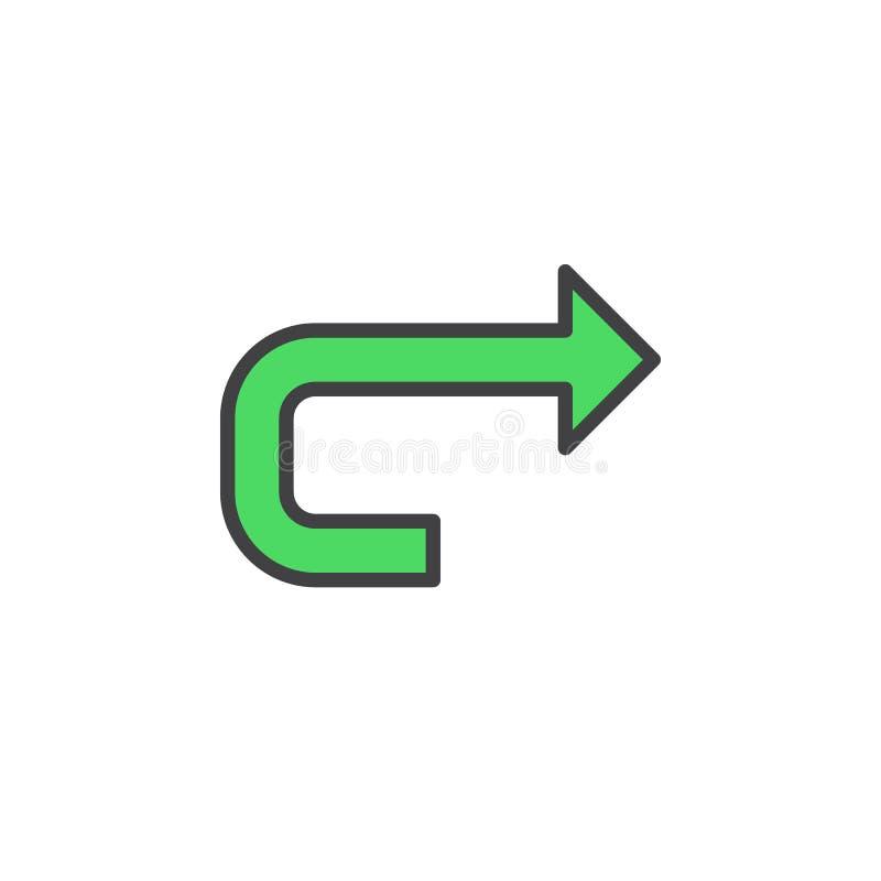 Het voorwaartse pictogram van de pijllijn, gevuld overzichts vectorteken, lineair kleurrijk die pictogram op wit wordt geïsoleerd royalty-vrije illustratie