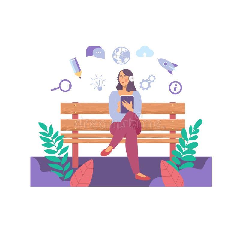 Het Voorzien van een netwerk die van e-lerend Onderwijsinternet Concept delen Jonge vrouw die een tabletcomputer in een bank houd vector illustratie