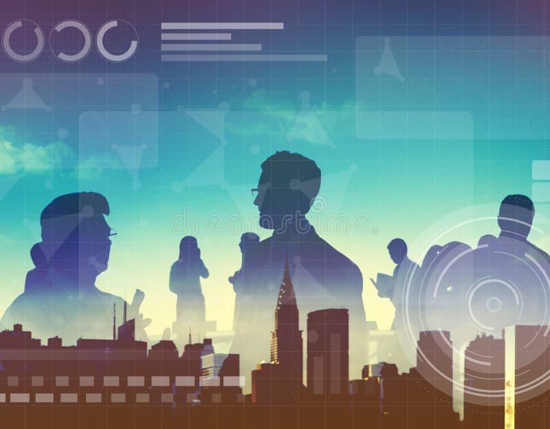 Het Voorzien van een netwerkmedia van de technologieverbinding Online Concept stock afbeeldingen