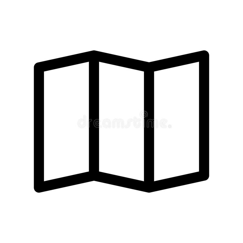 Het vouwen van document kaartpictogram Symbool van het reizen en planning Element van het overzichts het moderne ontwerp Eenvoudi stock illustratie